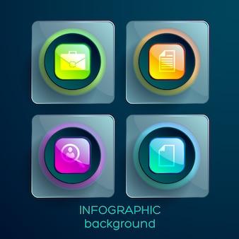 Elementos de web design de negócios com ícones quadrados brilhantes coloridos e retângulos de vidro isolados