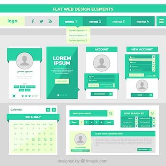 Elementos de web design liso na cor verde
