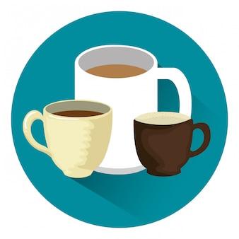 Elementos de xícaras de café