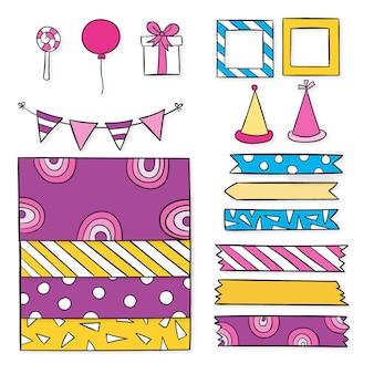 Elementos decorativos de álbum de recortes de aniversário