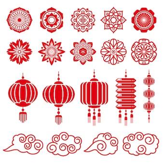 Elementos decorativos de chinês e japonês tradicionais
