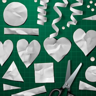 Elementos decorativos de corte de papel para o dia dos namorados