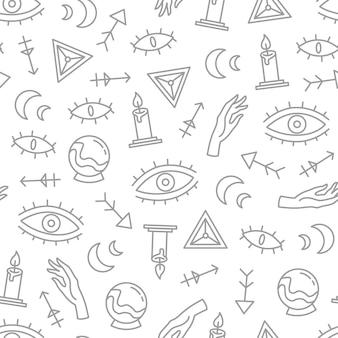 Elementos decorativos de estilo boho cinza padrão mágico sem emenda, papel esotérico, ilustração vetorial de repetição mística em fundo branco