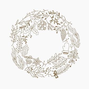 Elementos decorativos de moldura redonda de natal doodle feito de folhas e símbolos de férias.