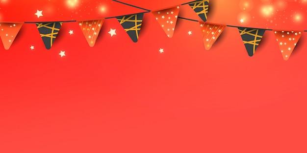 Elementos decorativos de natal ou ano novo para decoração de banner em fundo vermelho