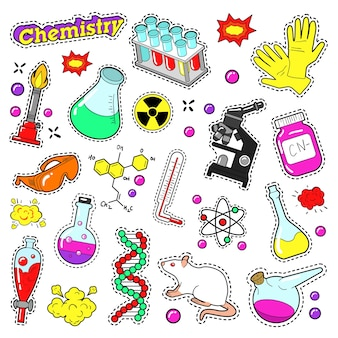 Elementos decorativos de química para álbum de recortes, adesivos, adesivos, emblemas. doodle