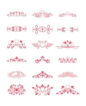 Elementos decorativos de vetor encaracolado rosa com corações e flores