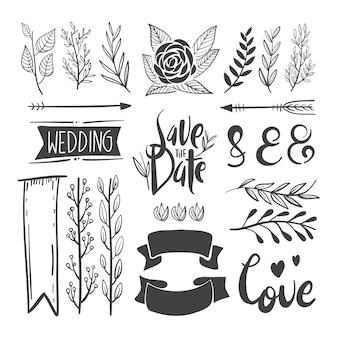 Elementos decorativos desenhados a mão