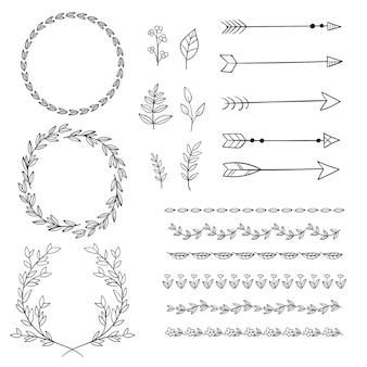 Elementos decorativos desenhados à mão