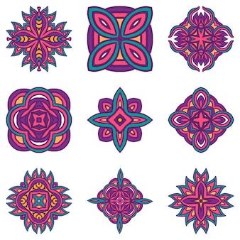 Elementos decorativos étnicos decorativos em azulejos boho coloridos