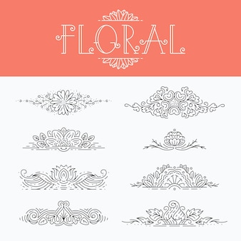 Elementos decorativos florais de linha mono fina, conjunto de cabeçalhos ornamentais isolados