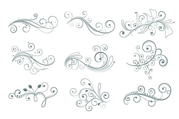 Elementos decorativos florais definidos em estilo diferente