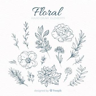 Elementos decorativos florais desenhados a mão