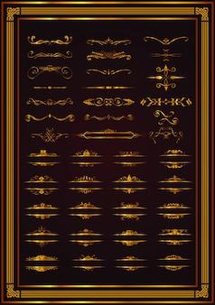 Elementos decorativos fronteira e página regras cor de ouro