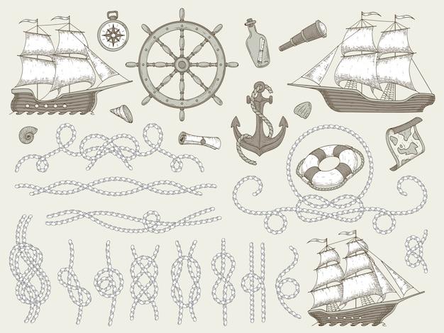 Elementos decorativos marinhos. conjunto de quadros de corda do mar, barco à vela ou volante de navio náutico e cantos de cordas náuticas