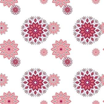 Elementos decorativos vintage de padrão de mandala desenhada à mão sem emenda