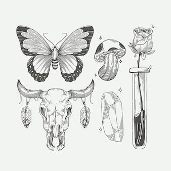 Elementos desenhados à mão boho