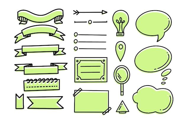 Elementos desenhados à mão com marcadores