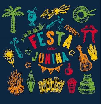 Elementos desenhados à mão de festa junina