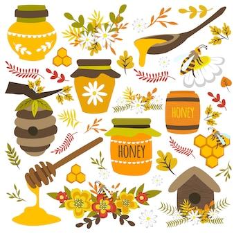 Elementos desenhados à mão de mel