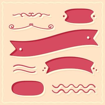 Elementos desenhados à mão, fitas e arabescos
