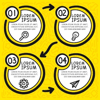Elementos desenhados à mão infográfico do fluxograma. mão desenhada quatro círculos.