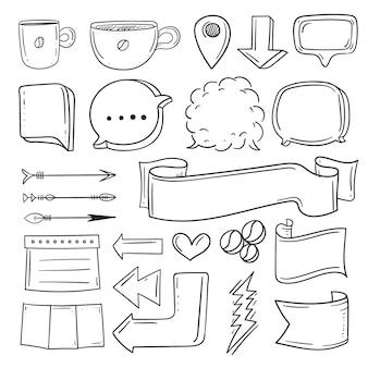 Elementos desenhados à mão para a coleção de diários com marcadores