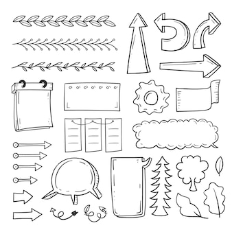 Elementos desenhados à mão para o pacote de diários com marcadores