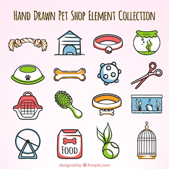 Elementos desenhados à mão para um pet shop