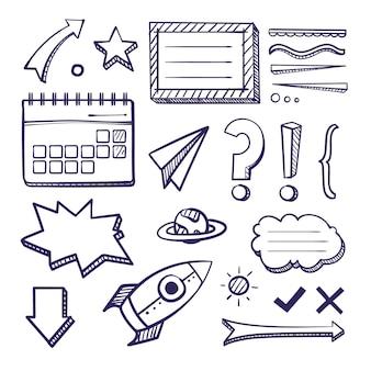 Elementos desenhados com marcadores