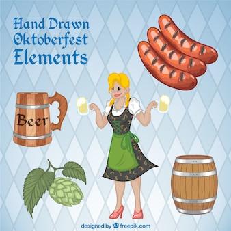 Elementos desenhados mão agradáveis oktoberfest