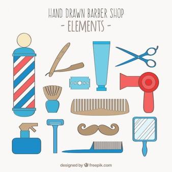 Elementos desenhados mão barbearia