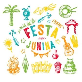 Elementos desenhados mão da festa da aldeia festa junina