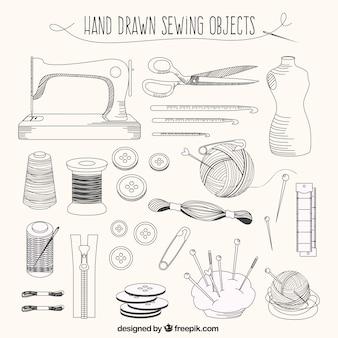 Elementos desenhados mão do alfaiate