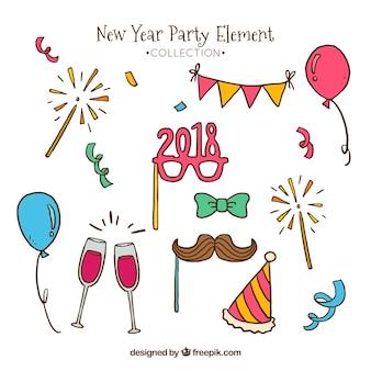 Elementos desenhados mão do ano novo ano