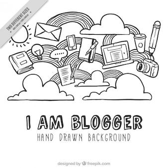 Elementos desenhados mão do blog fundo