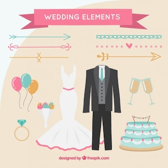 Elementos desenhados mão do casamento do bloco