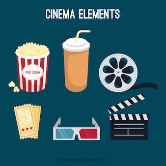 Elementos desenhados mão do cinema embalar