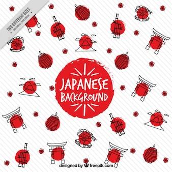 Elementos desenhados mão do japonês com círculos fundo vermelho