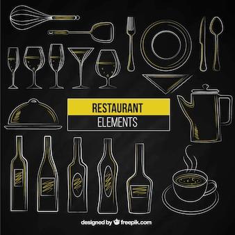 Elementos desenhados mão do restaurante