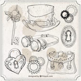Elementos desenhados mão do steampunk definir