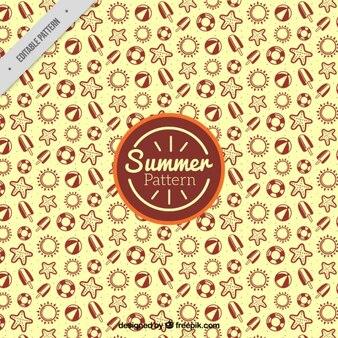 Elementos desenhados mão do verão padrão amarelo