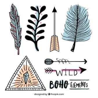 Elementos desenhados mão indiano embalar