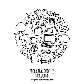 Elementos desenhados mão para um blog engraçado