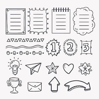 Elementos desenhados para a coleção de diários com marcadores