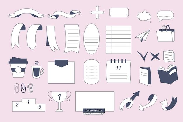 Elementos desenhados para diários com marcadores
