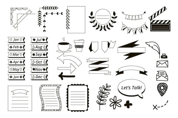 Elementos desenhados para o pacote de diários com marcadores