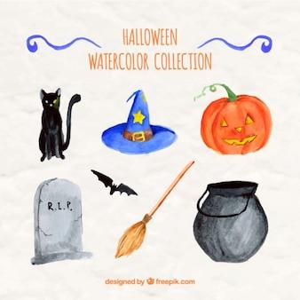 Elementos diferentes de halloween pintado com aguarelas