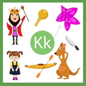 Elementos do alfabeto k para crianças