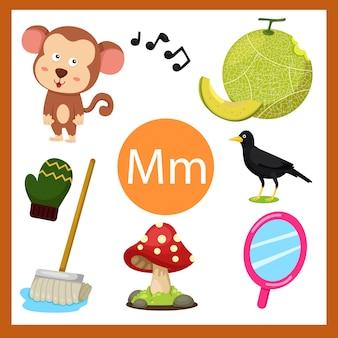 Elementos do alfabeto m para crianças
